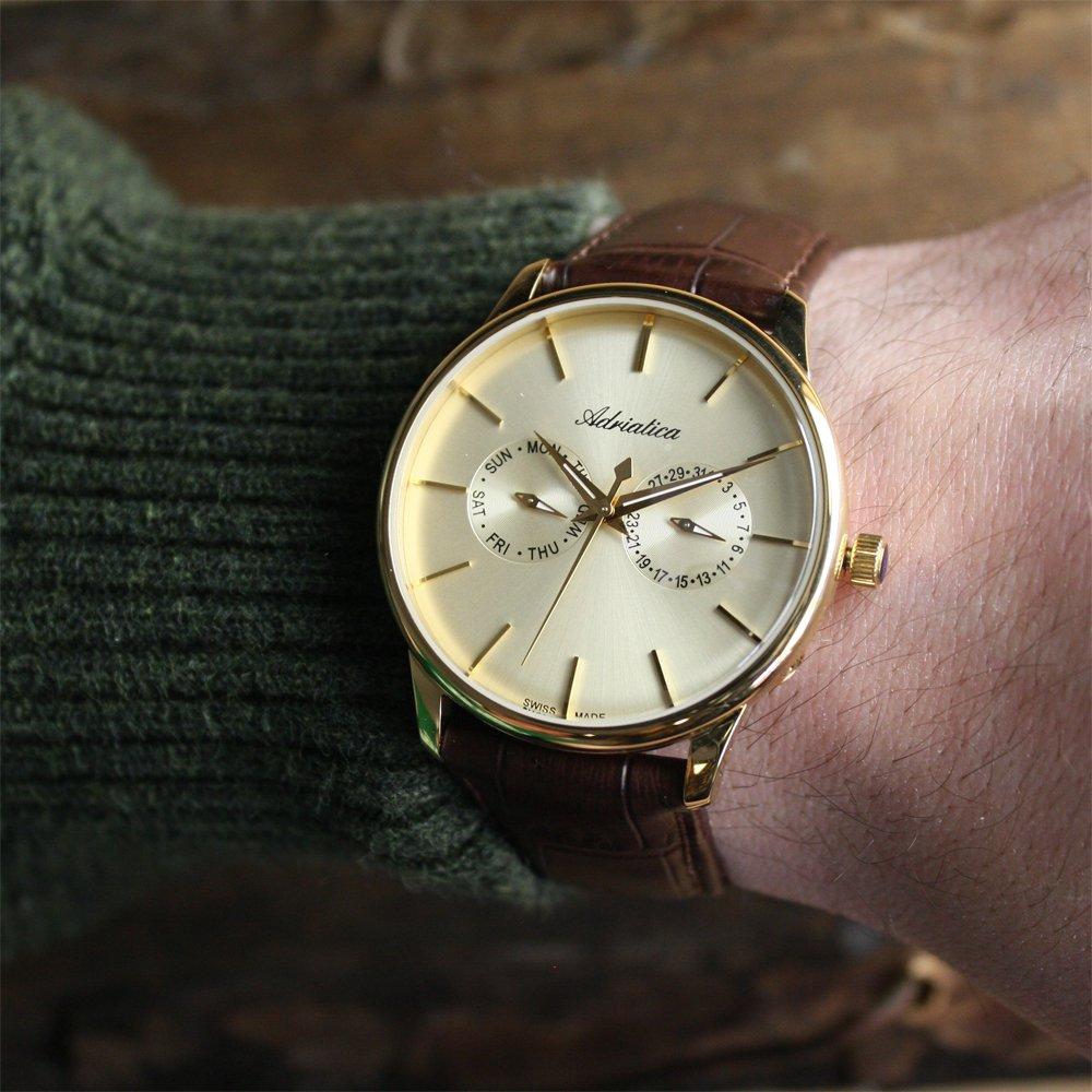 Adriatica A8243.1211QF zegarek złoty klasyczny Pasek pasek