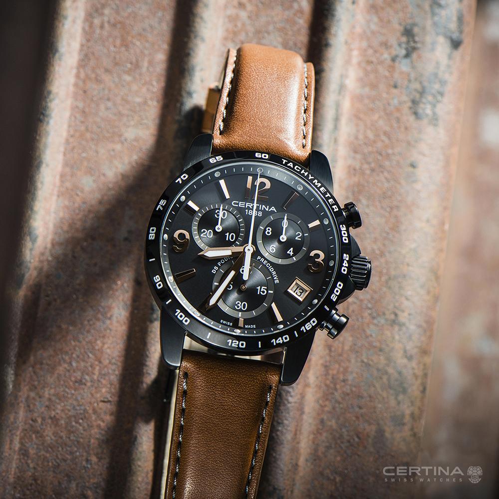 Certina C034.417.36.057.00 DS Podium Chronograph 1/10 sec DS Podium klasyczny zegarek czarny