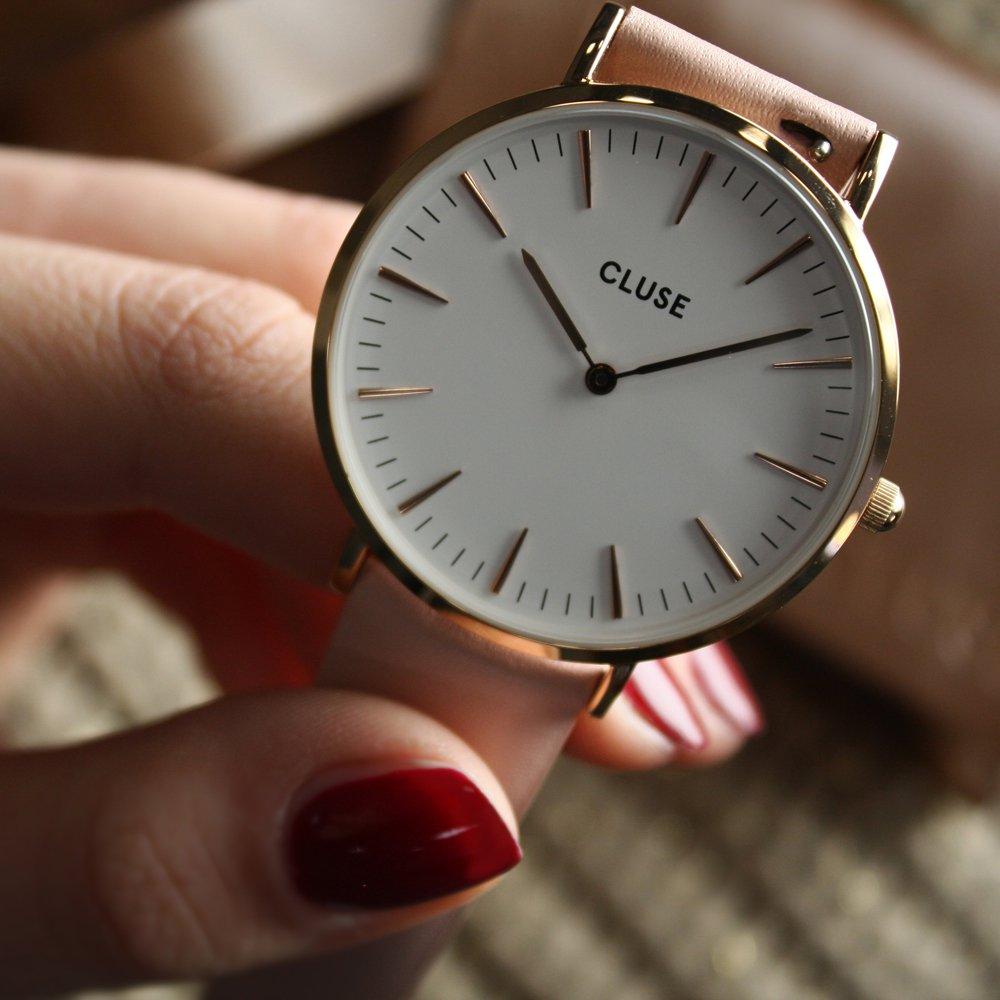 Cluse CL18014 La Boheme Rose Gold White/Pink zegarek damski klasyczny mineralne
