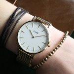 Cluse CL18109 La Boheme Mesh Gold/White zegarek damski klasyczny mineralne