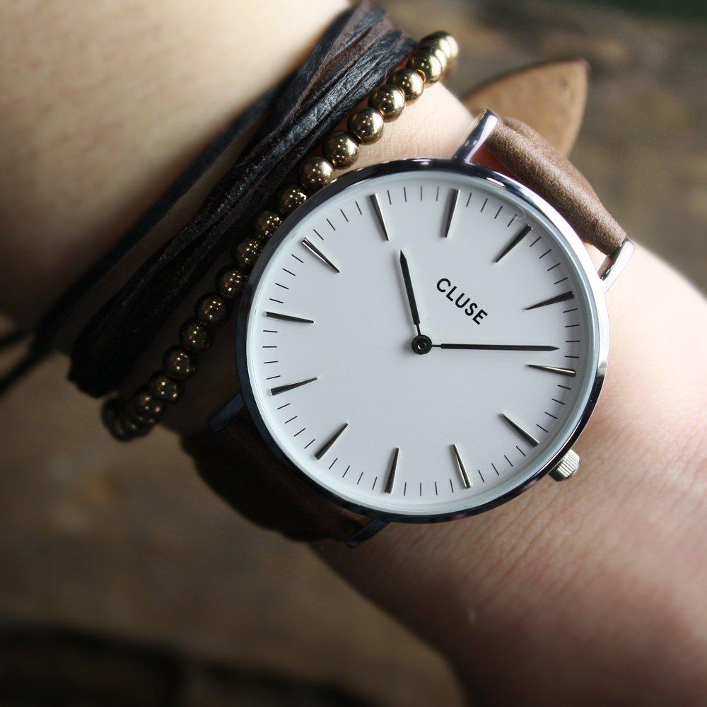 Cluse CL18210 La Boheme Silver White/Brown zegarek damski klasyczny mineralne