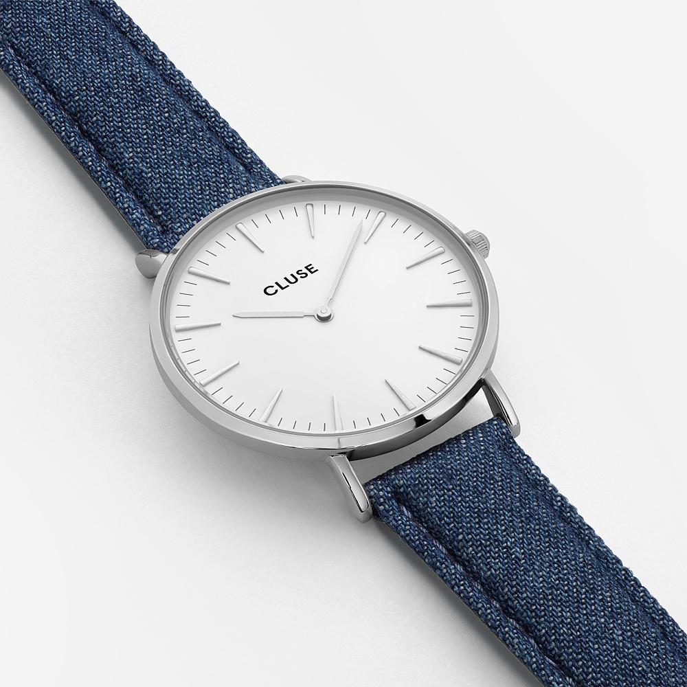 Cluse CL18229 Silver White/Blue Denim La Boheme klasyczny zegarek srebrny