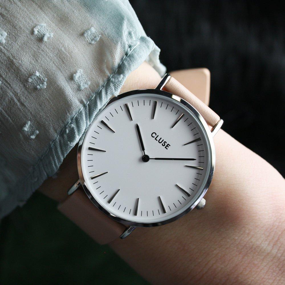 Cluse CL18231 La Boheme Silver White/Nude zegarek damski klasyczny mineralne