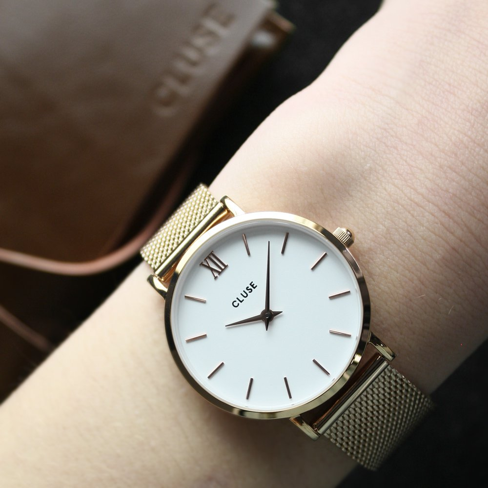 Cluse CL30013 Minuit Mesh Rose Gold/White zegarek damski fashion/modowy mineralne