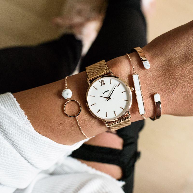 Cluse CW0101203001 Mesh Rose Gold/White Minuit fashion/modowy zegarek różowe złoto