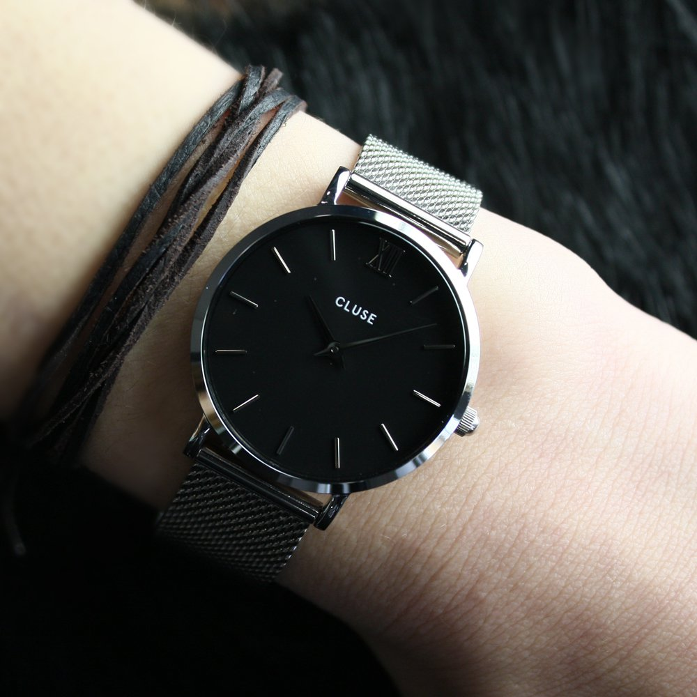 Cluse CW0101203005 Mesh Silver/Black Minuit klasyczny zegarek srebrny