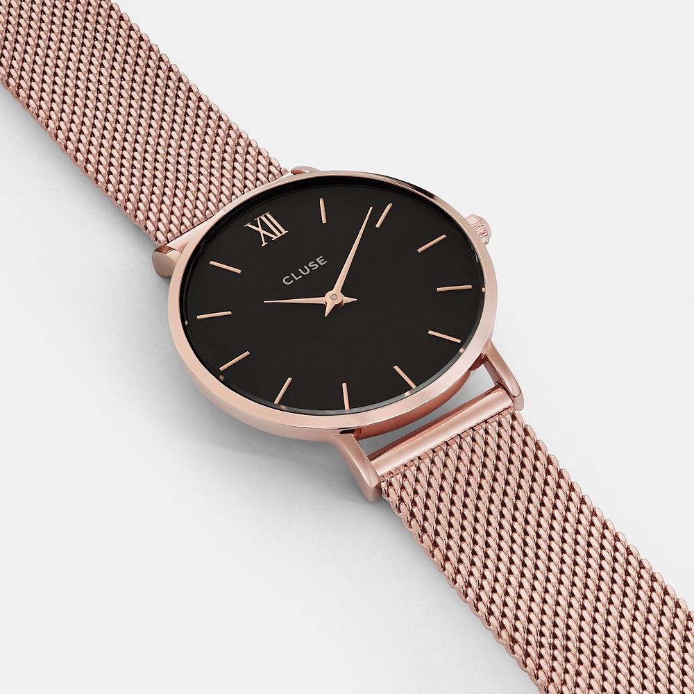Cluse CW0101203003 Mesh Rose Gold/Black Minuit fashion/modowy zegarek różowe złoto
