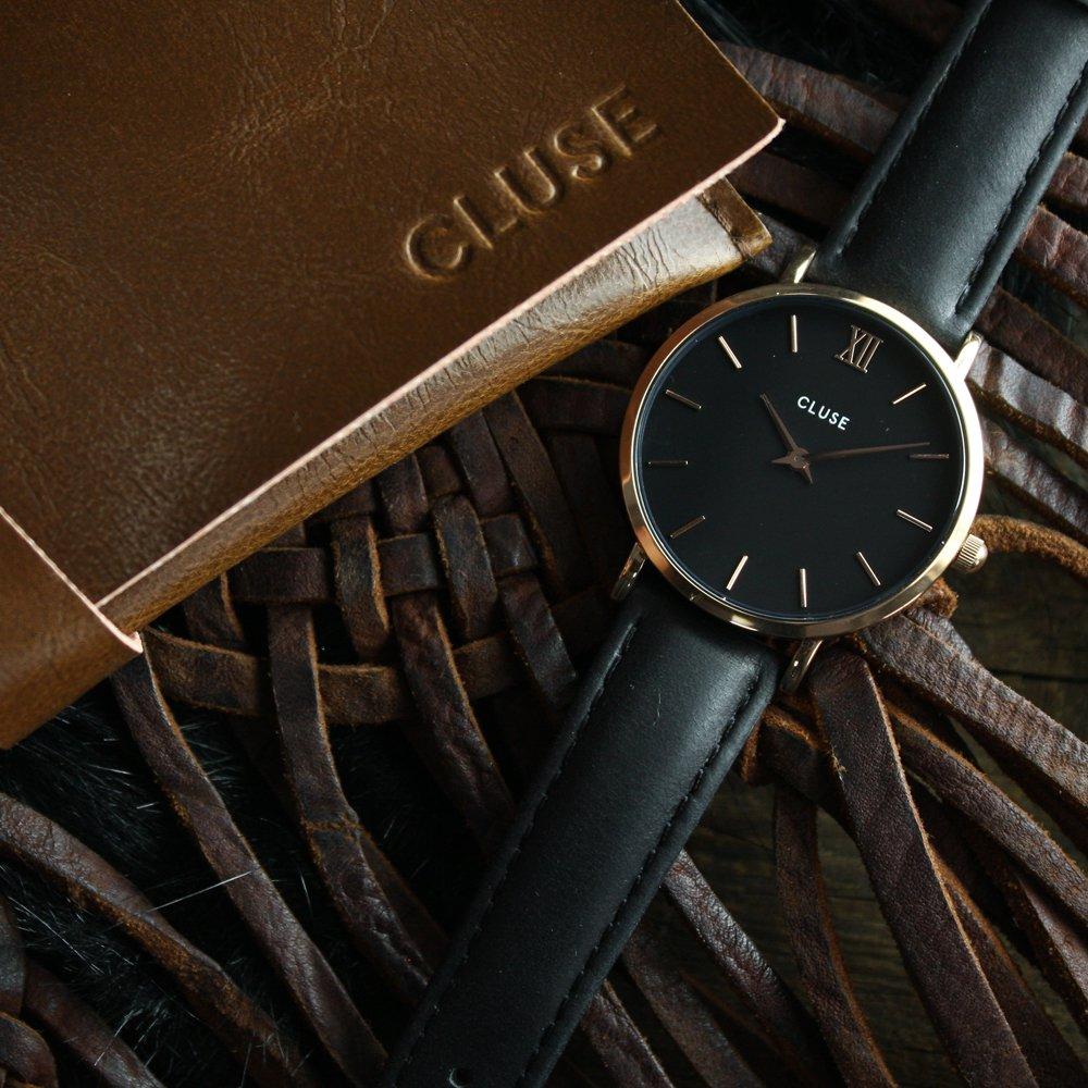 Cluse CW0101203013 Rose Gold Black/Black Minuit klasyczny zegarek różowe złoto