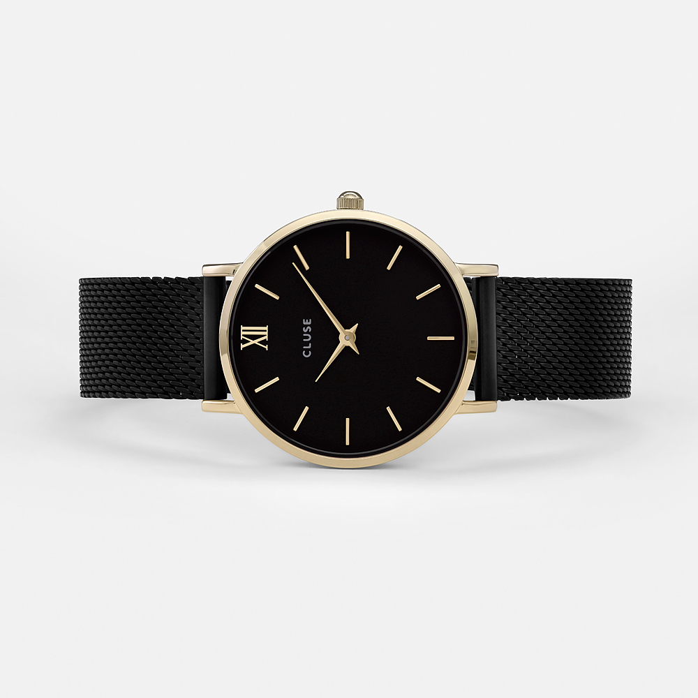 zegarek Cluse CW0101203009 Mesh Gold Black/Black Minuit mineralne