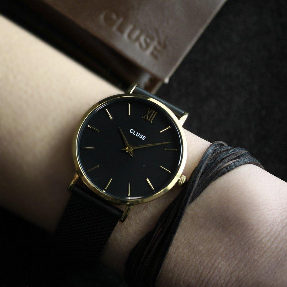 Cluse CW0101203009 Minuit Mesh Gold Black/Black zegarek damski klasyczny mineralne