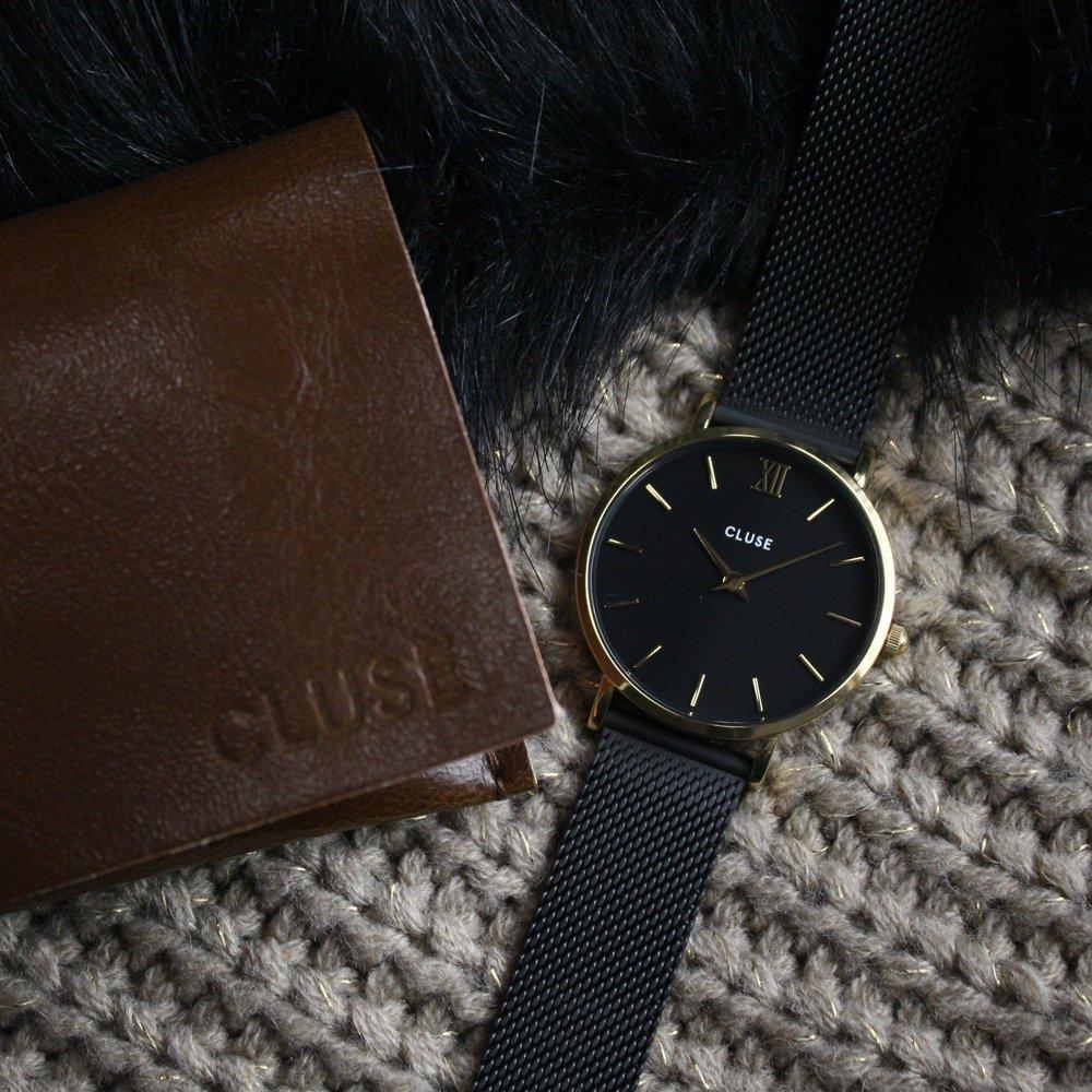Cluse CW0101203009 Mesh Gold Black/Black Minuit klasyczny zegarek złoty