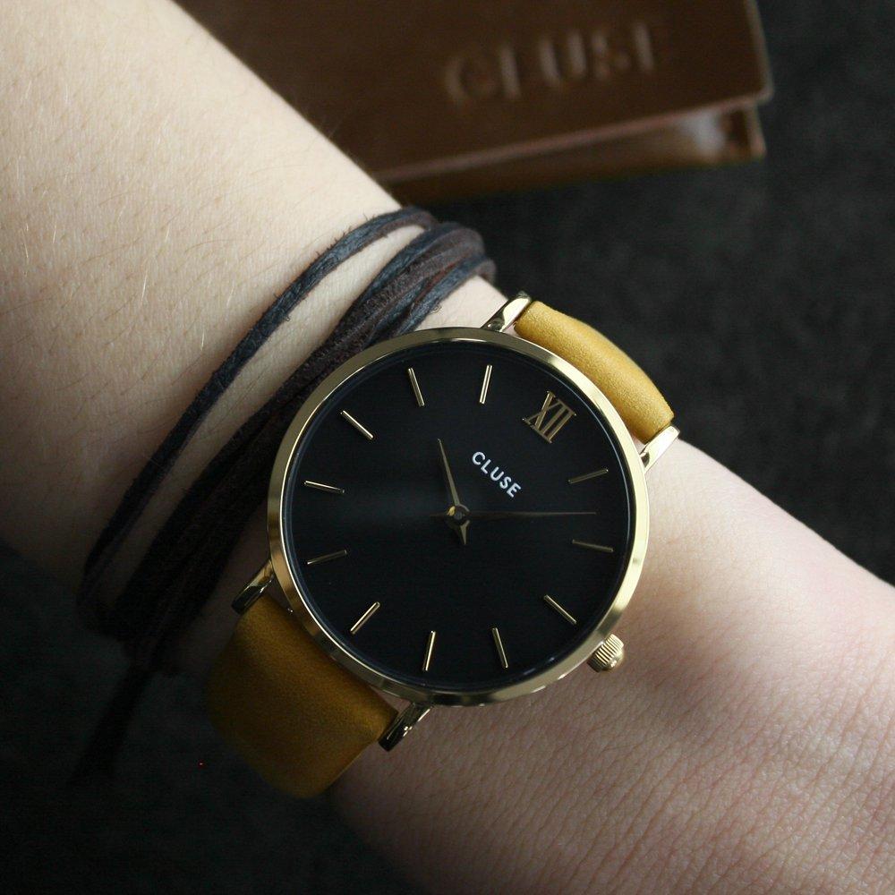 Cluse CL30035 Minuit Gold Black/Mustard zegarek damski klasyczny mineralne