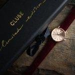 Cluse CL50018 Rose Gold Red Velvet Limited Edition La Vedette klasyczny zegarek różowe złoto