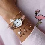 Cluse CL50020 La Vedette Rose Gold White/Rose Gold Metallic zegarek damski klasyczny mineralne