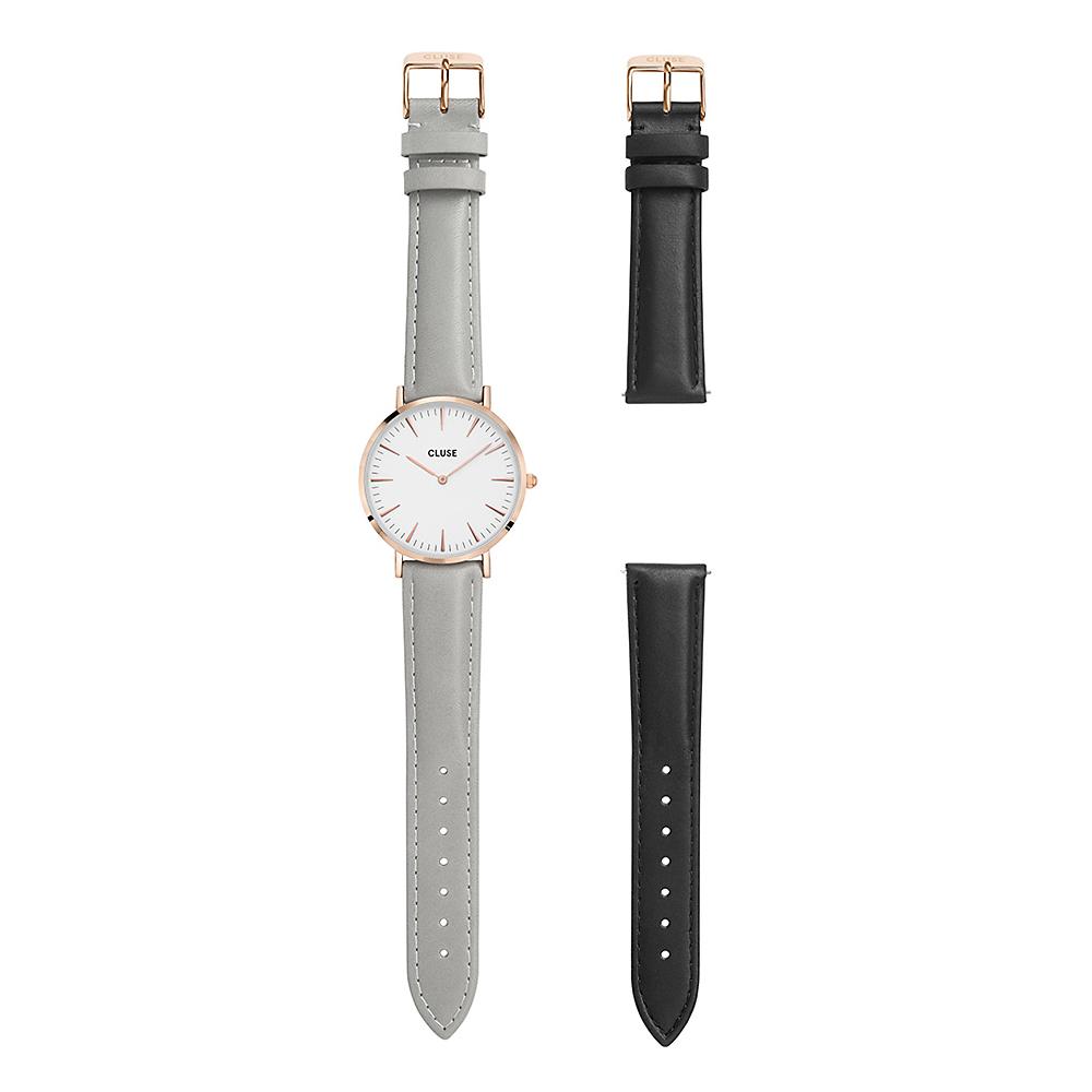Cluse CLA001 La Boheme Rose Gold White/Grey + Black Strap zegarek damski klasyczny mineralne