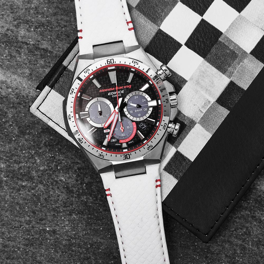 Edifice EQS-800HR-1AER zegarek srebrny sportowy EDIFICE Premium pasek