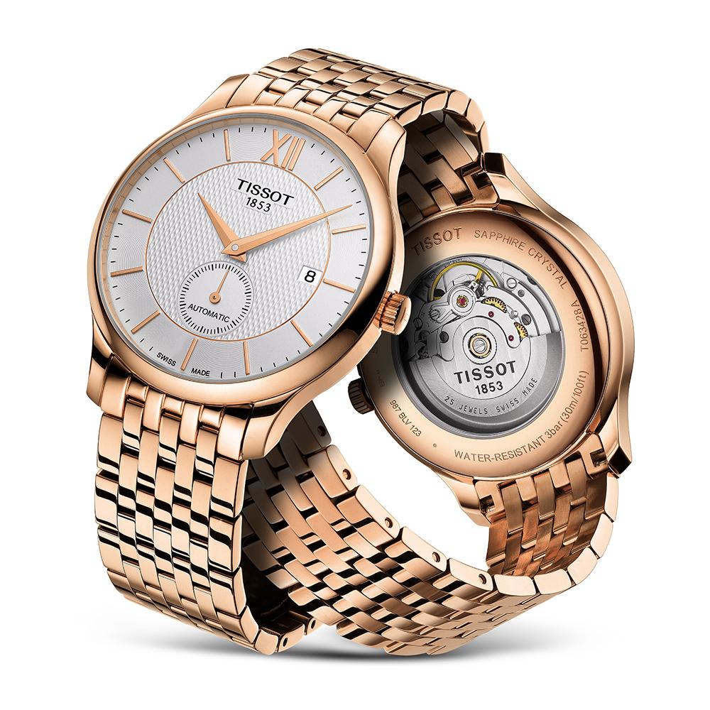 zegarek Tissot T063.428.33.038.00 różowe złoto Tradition