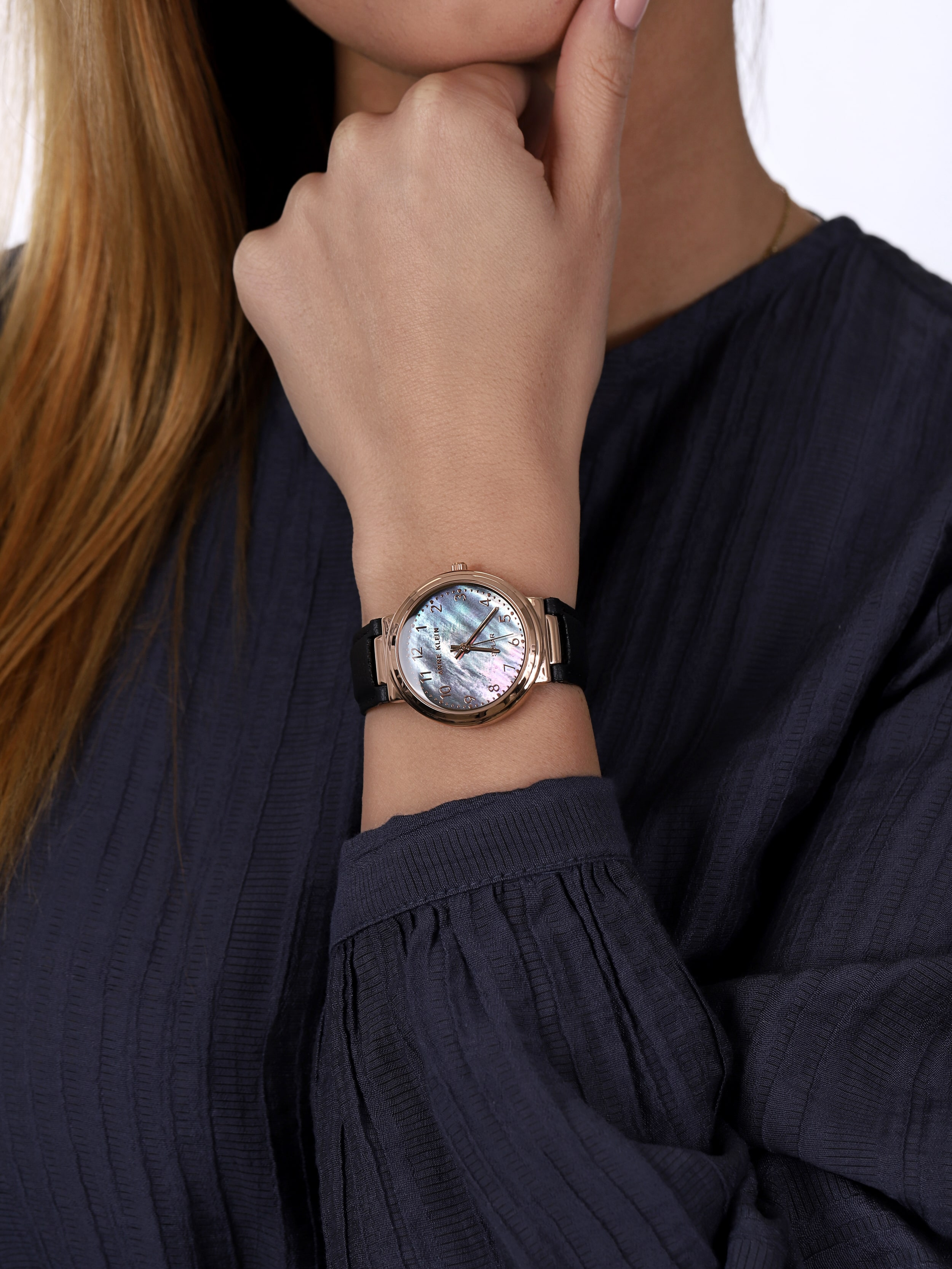 Anne Klein AK-3712RGBK zegarek różowe złoto klasyczny Pasek pasek
