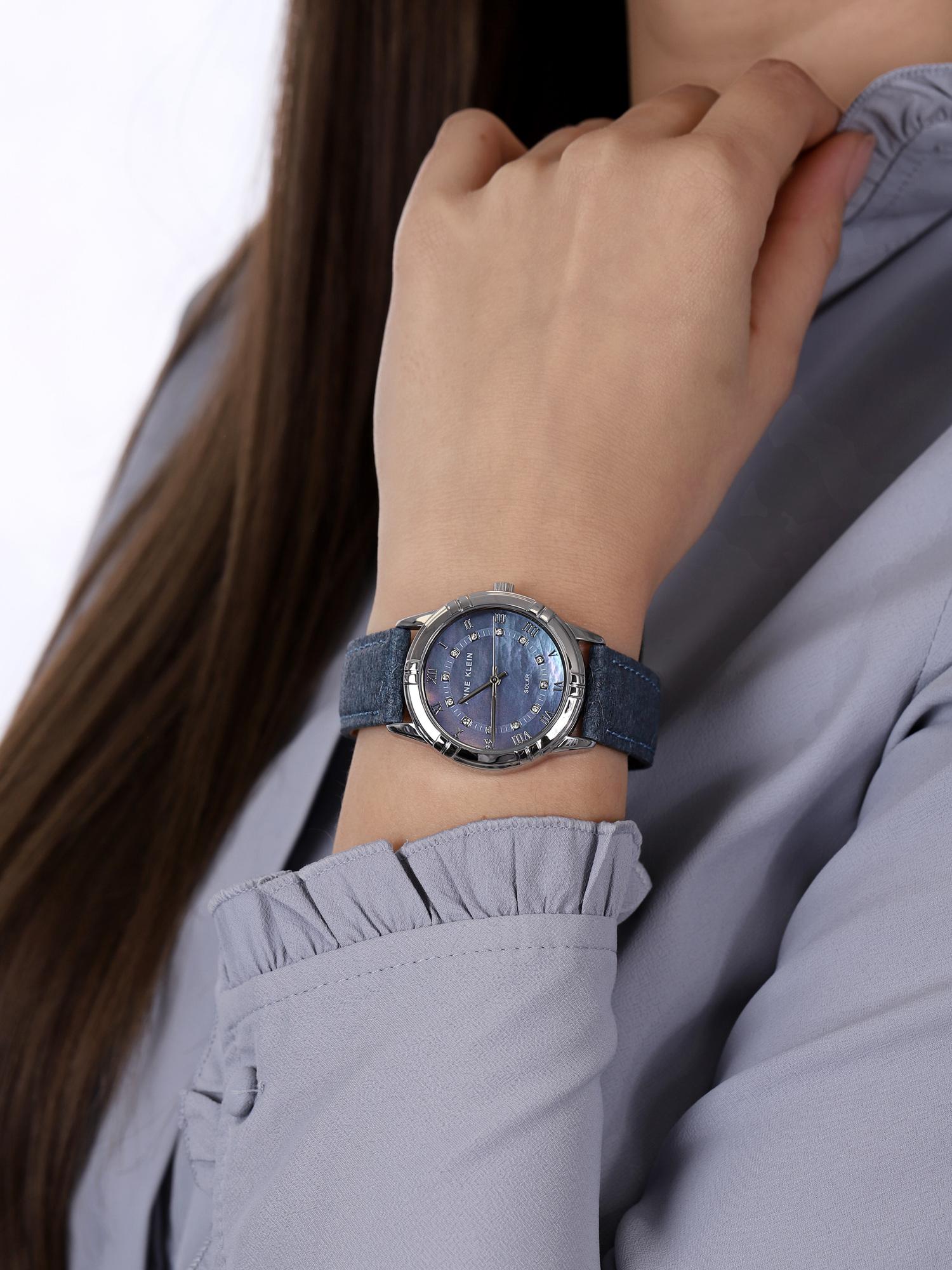 Anne Klein AK-3767BMBL zegarek srebrny klasyczny Pasek pasek