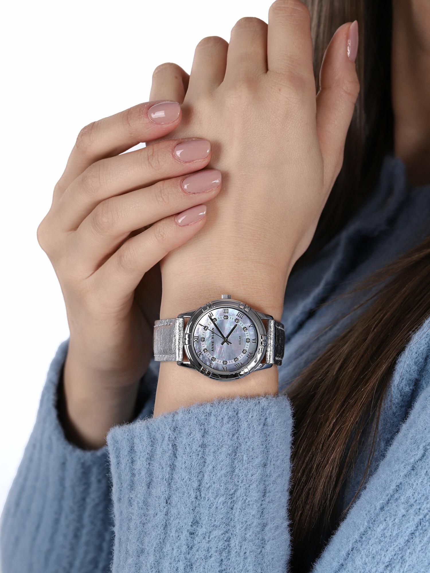 Anne Klein AK-3767MPSI zegarek srebrny klasyczny Pasek pasek