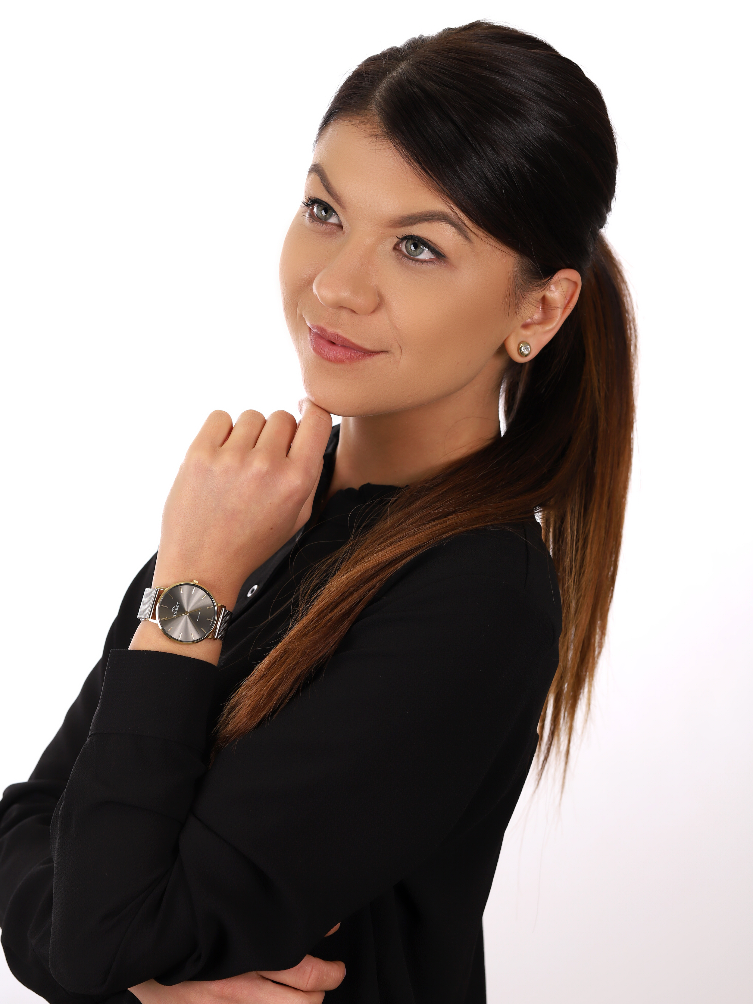 Bisset BSBF33GIVX03BX zegarek złoty klasyczny Klasyczne bransoleta