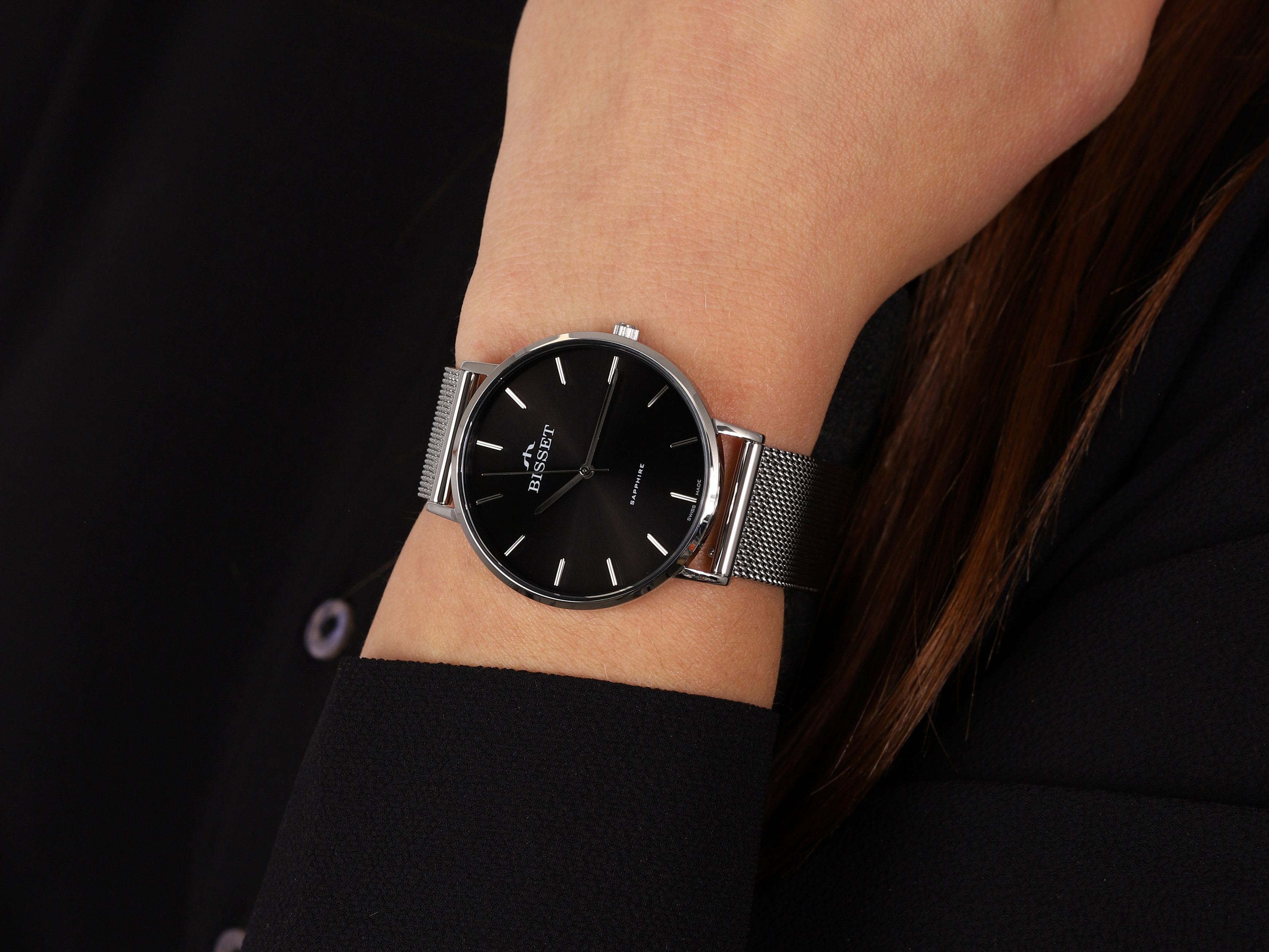 Bisset BSBF33SIBX03BX zegarek srebrny klasyczny Klasyczne bransoleta