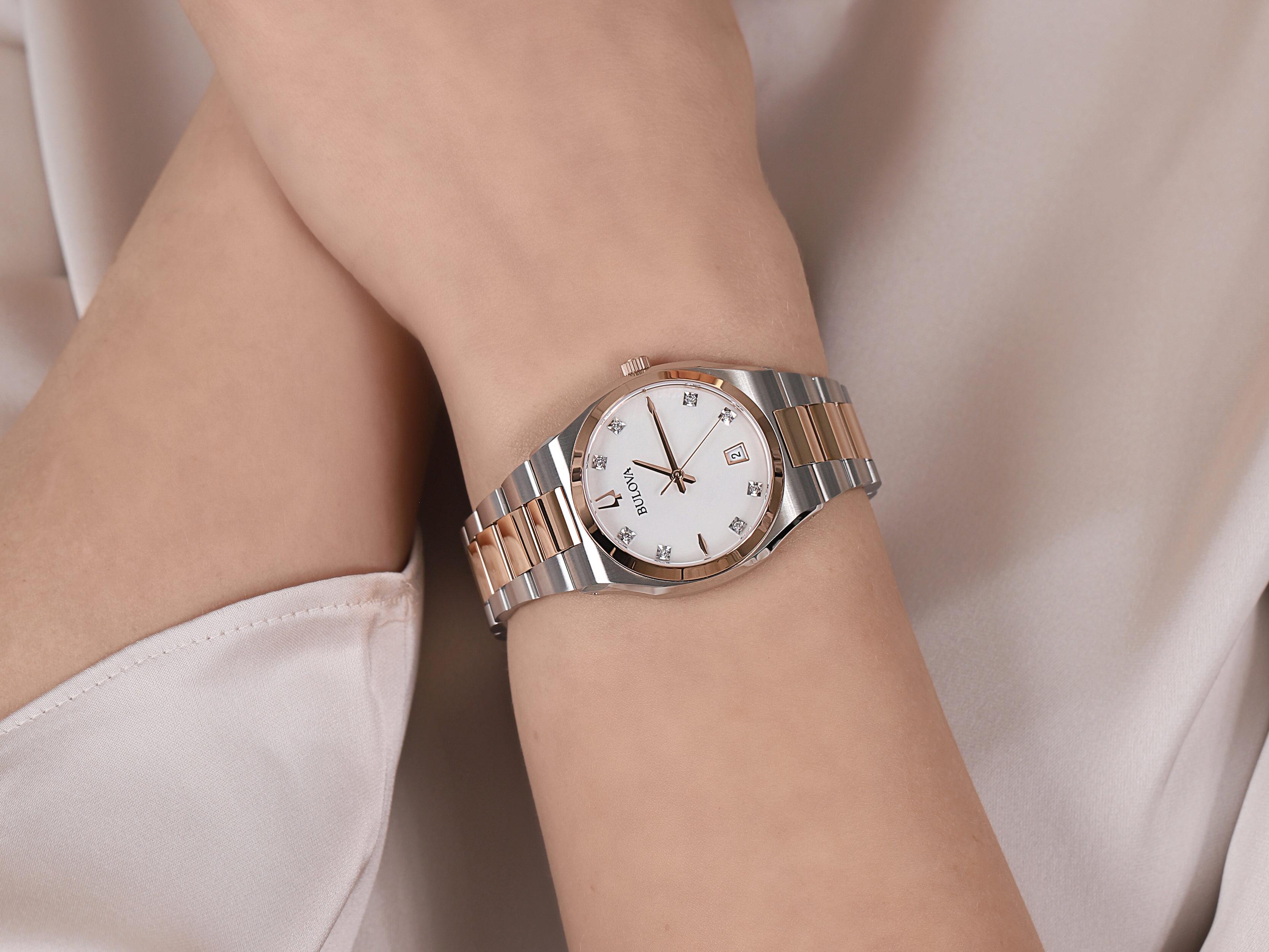 Bulova 98P199 damski zegarek Diamond bransoleta