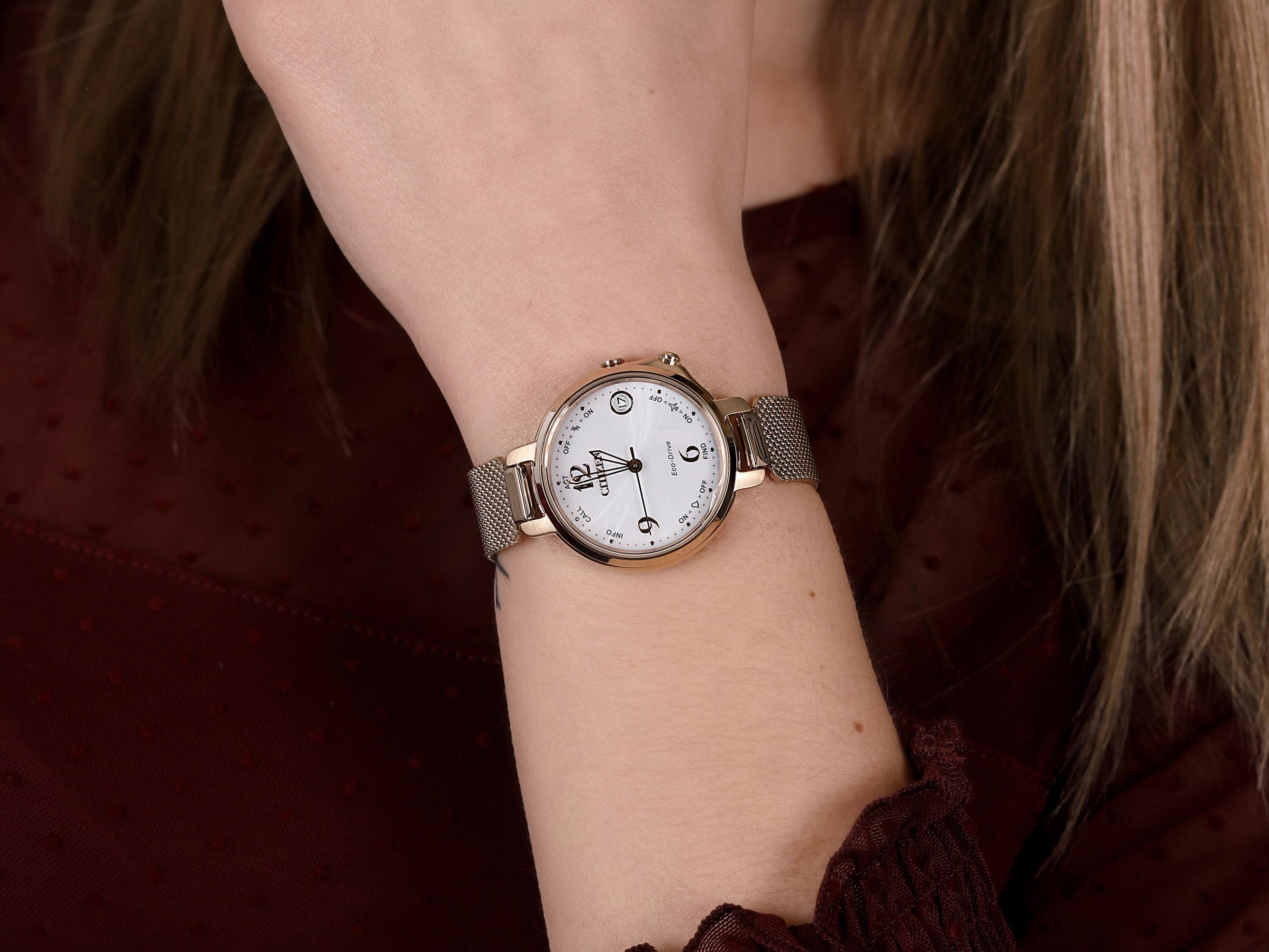 Citizen EE4033-87A smartwatch różowe złoto klasyczny Ecodrive bransoleta