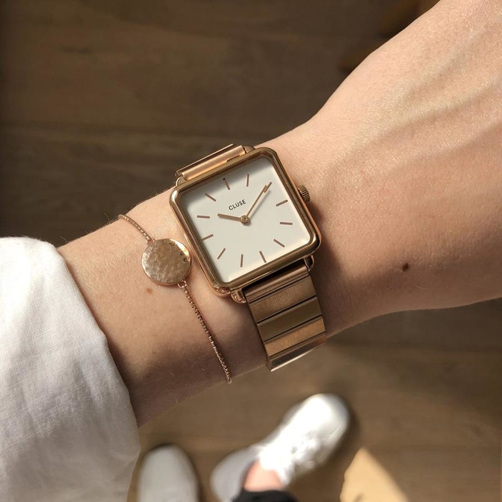 Cluse CG10304 zegarek srebrny klasyczny La Tetragone pasek