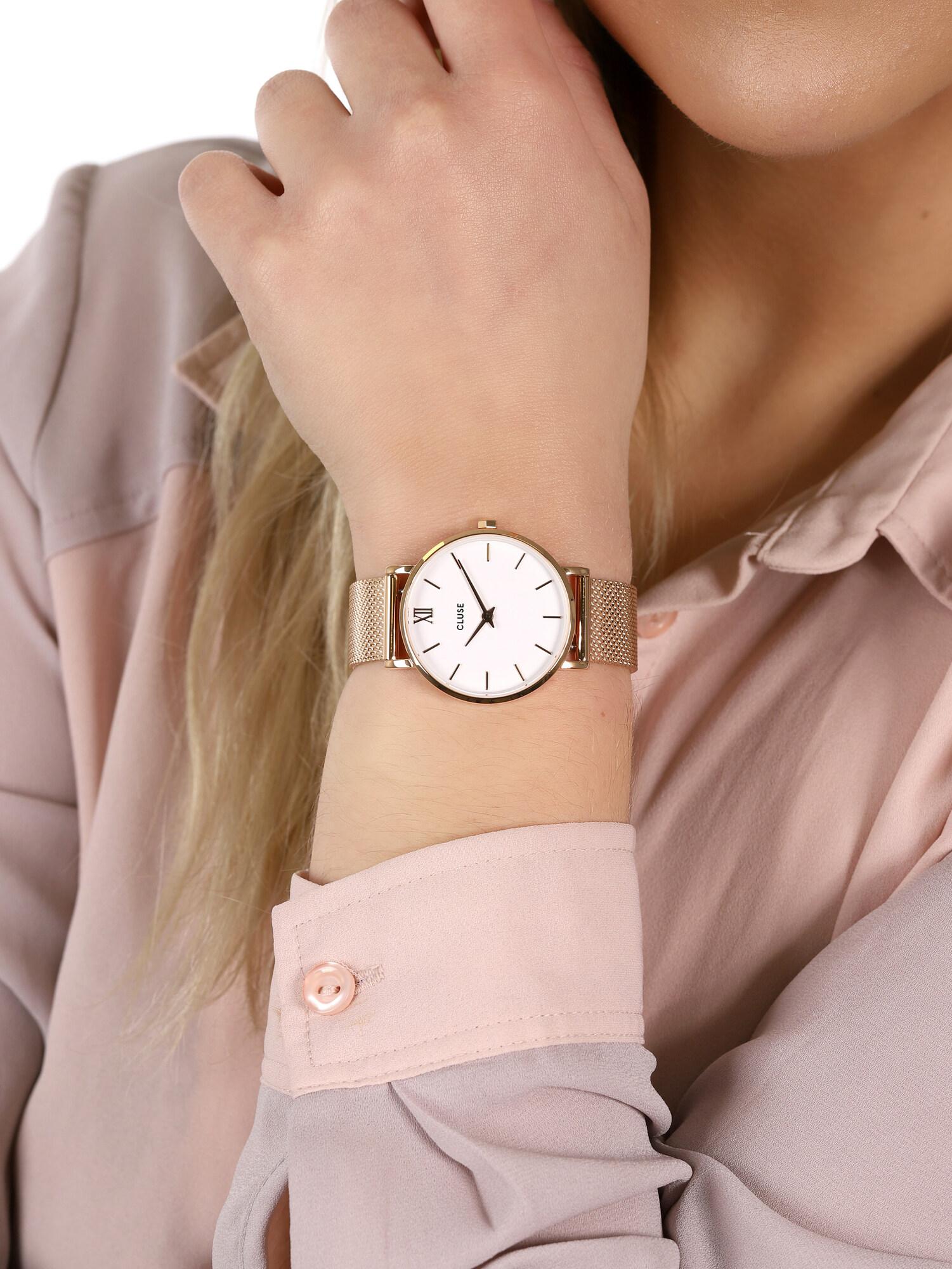 Cluse CW0101203001 Minuit Mesh Rose Gold/White zegarek damski fashion/modowy mineralne