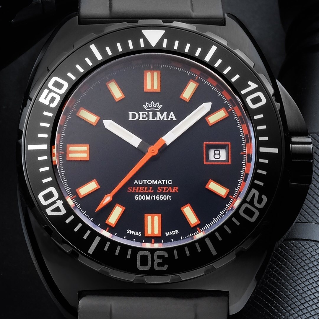 Delma 44501.670.6.031 zegarek czarny sportowy Shell Star pasek