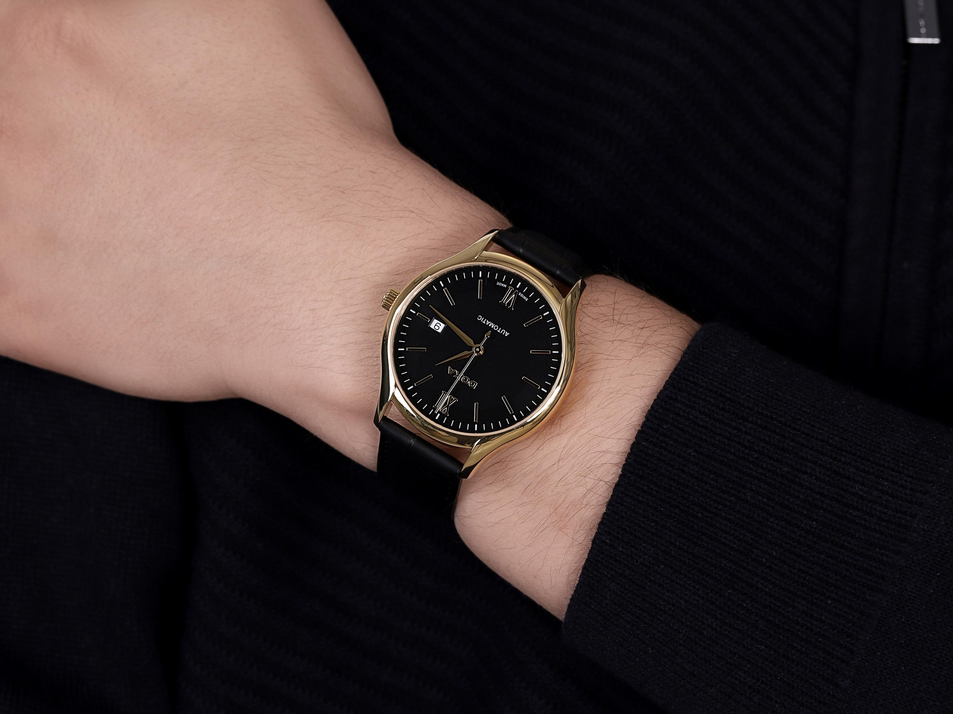 Doxa 216.30.102.01 zegarek złoty klasyczny Challenge pasek