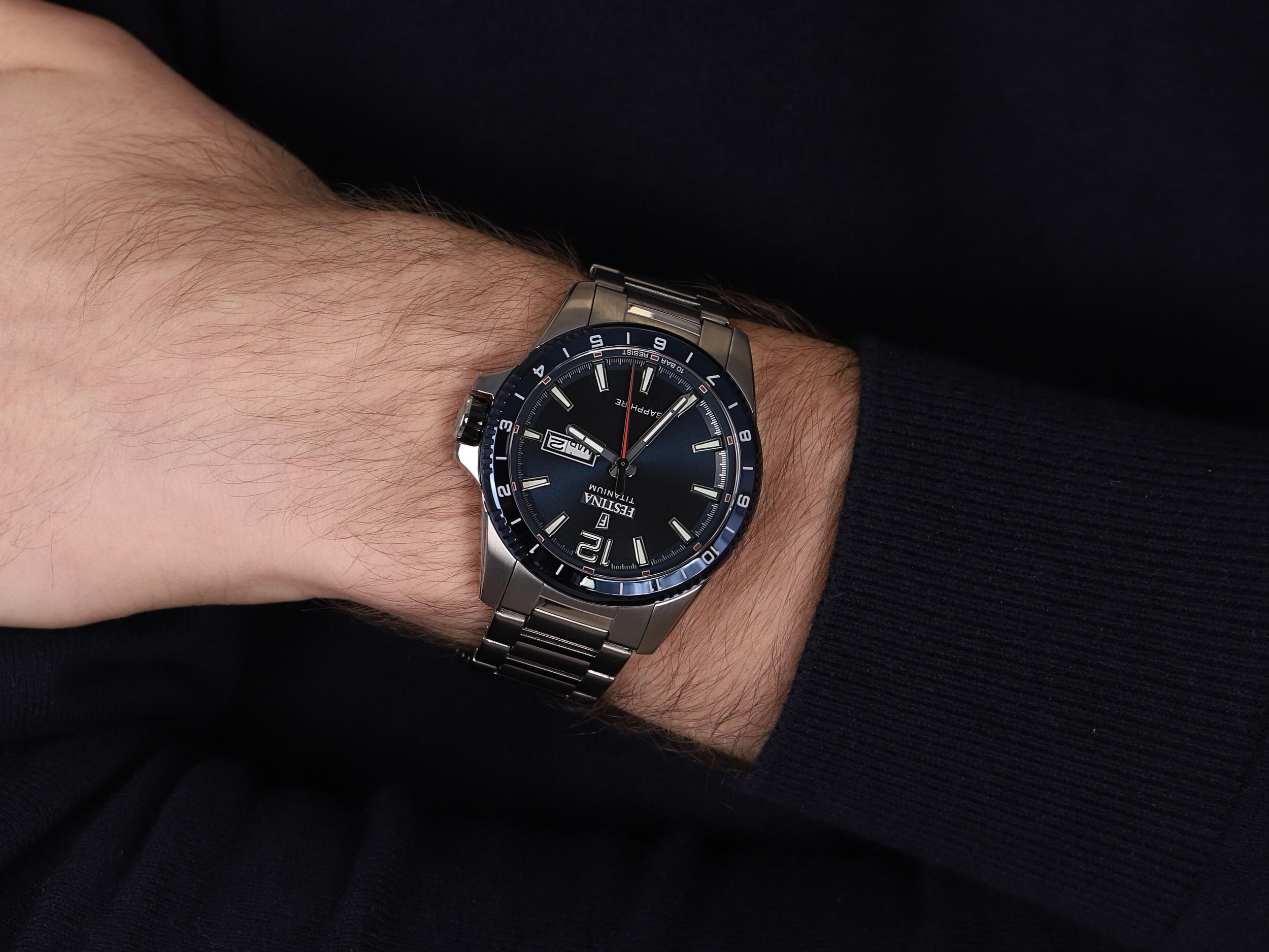 Festina F20529-2 męski zegarek Titanium bransoleta