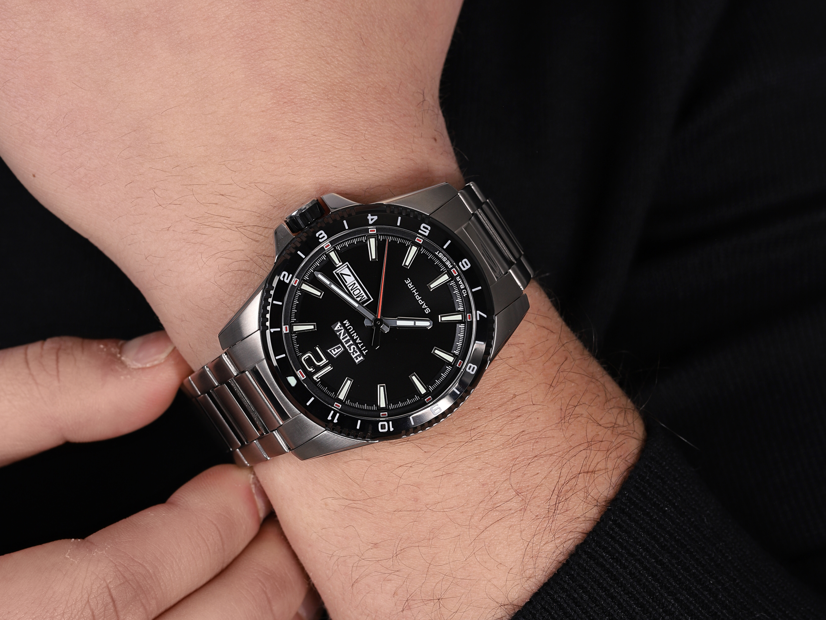 Festina F20529-4 męski zegarek Titanium bransoleta