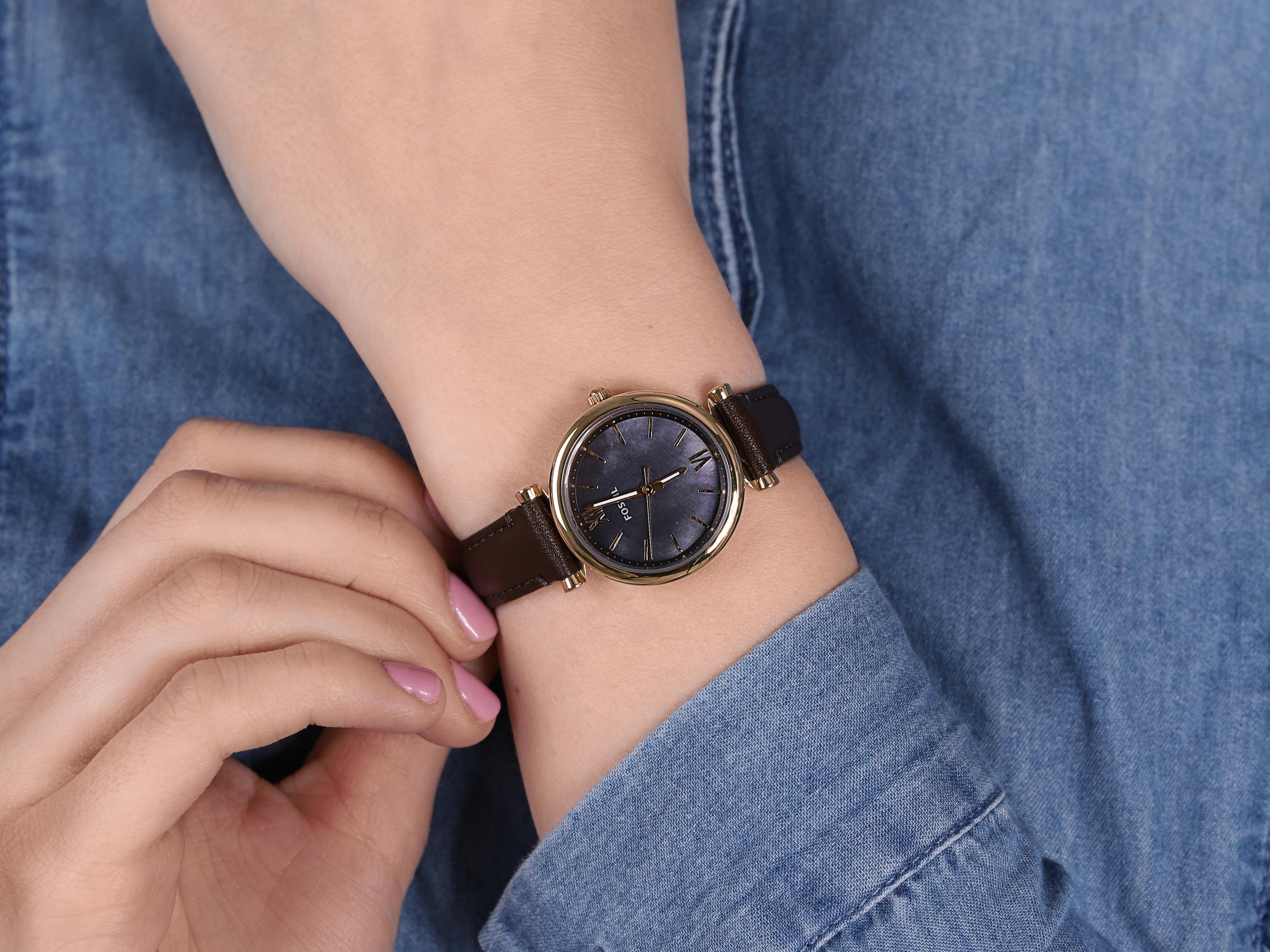 Fossil ES4968 zegarek złoty klasyczny Carlie pasek