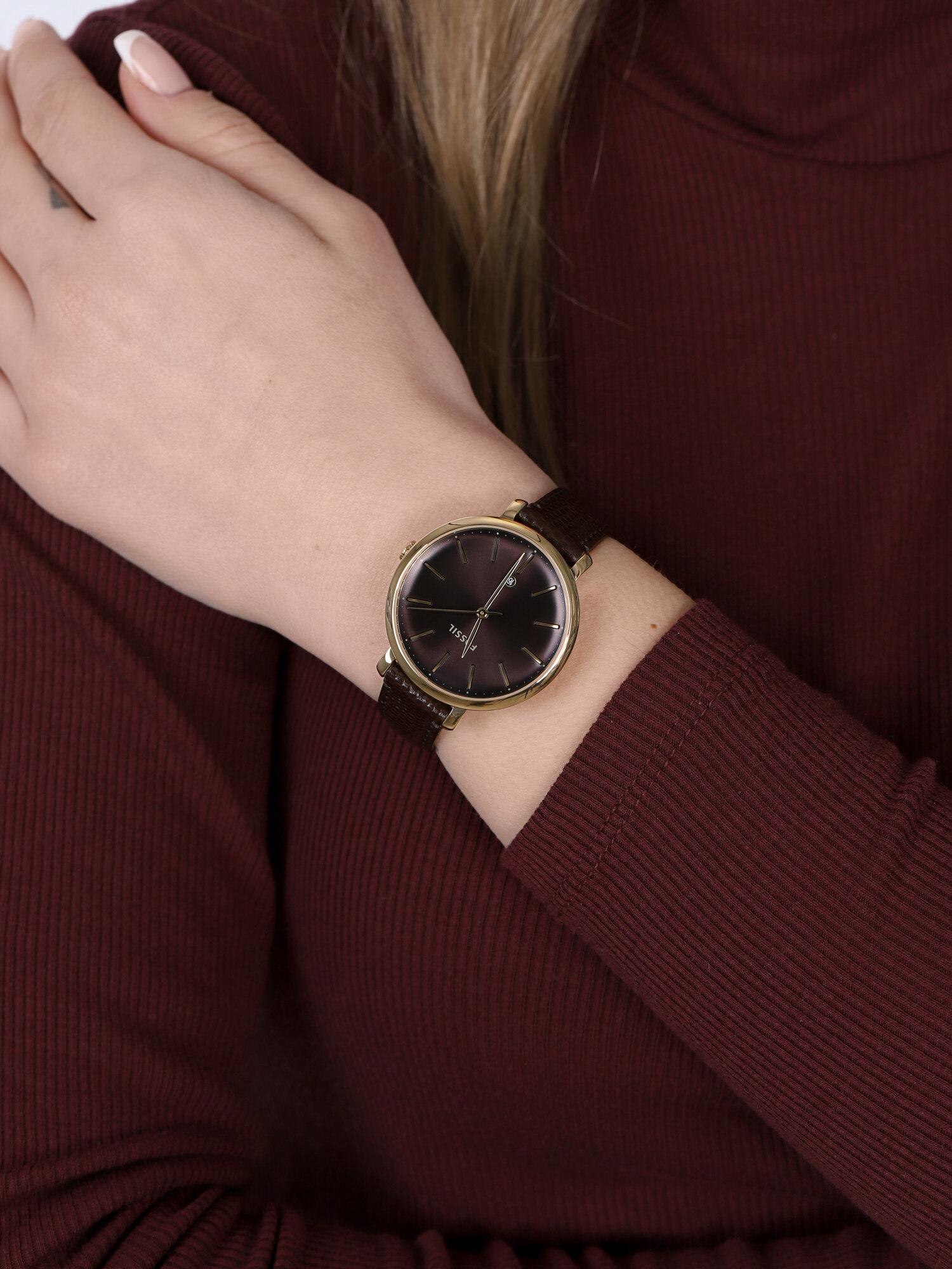 Fossil ES4969 zegarek złoty klasyczny Jacqueline pasek