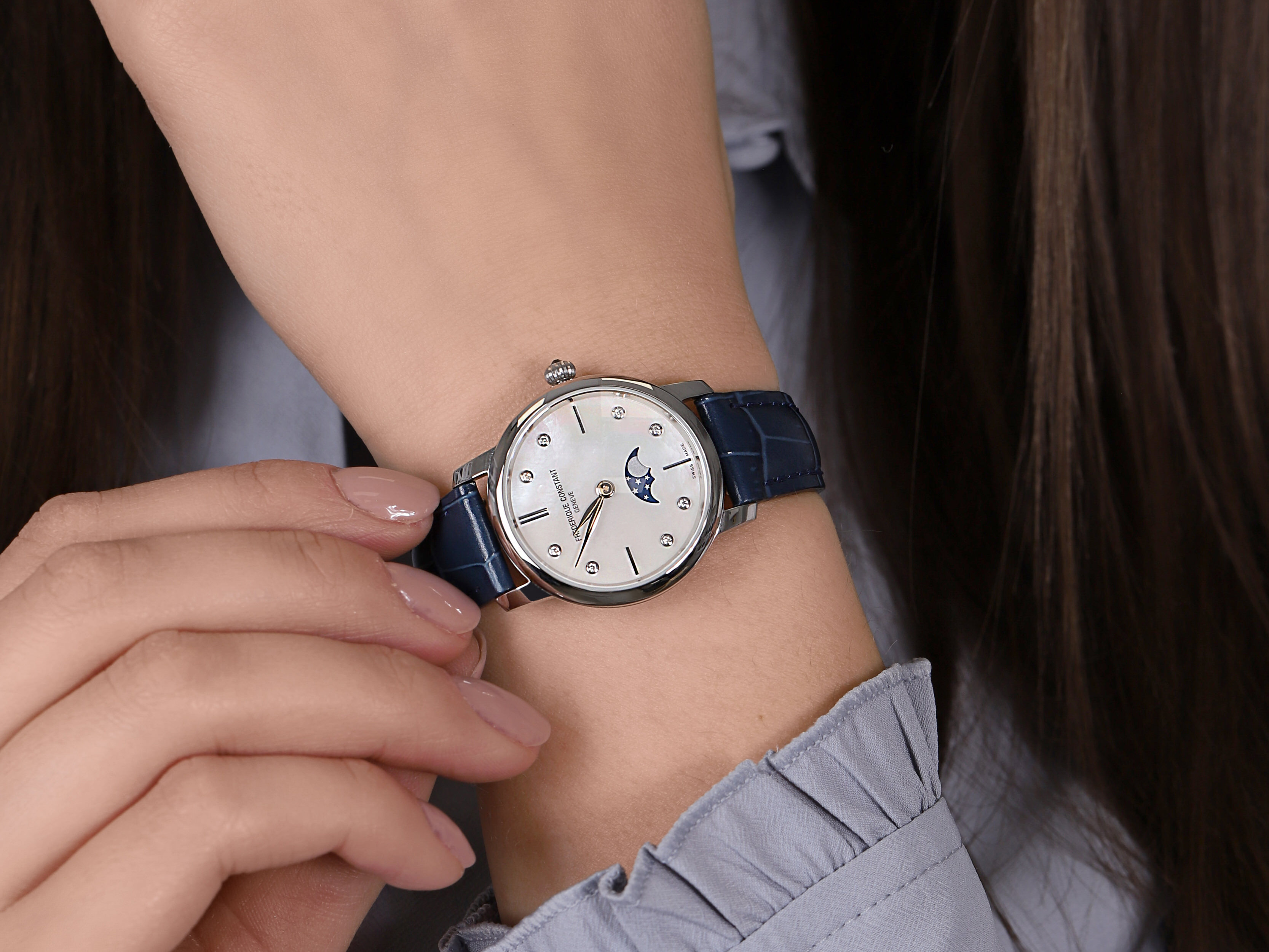 Frederique Constant FC-206MPWD1S6 SLIMLINE LADIES MOONPHASE zegarek elegancki Slimline