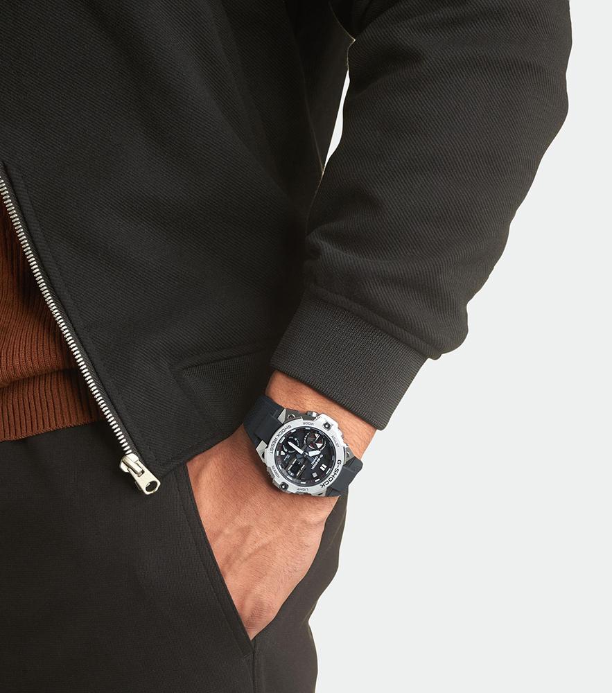 G-SHOCK GST-B400-1AER zegarek srebrny sportowy G-SHOCK G-STEEL bransoleta