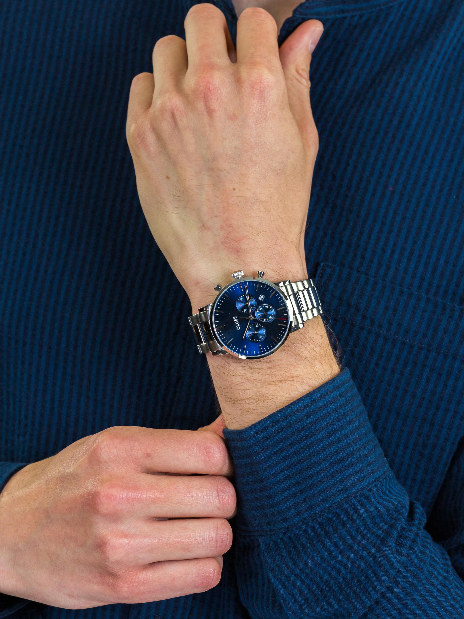 zegarek Cluse CW0101502011 Aravis Chrono Steel Silver Dark Blue męski z chronograf Aravis
