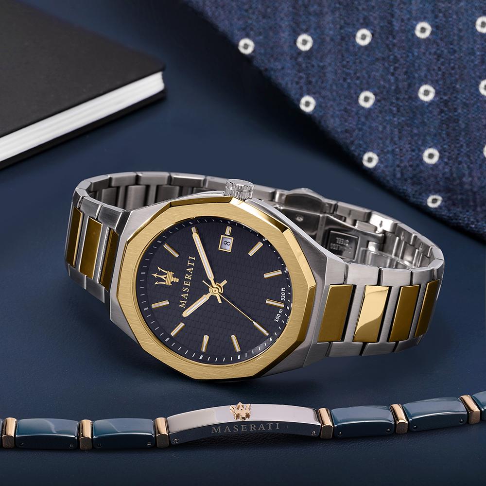 Maserati R8853142008 zegarek złoty klasyczny Stile bransoleta