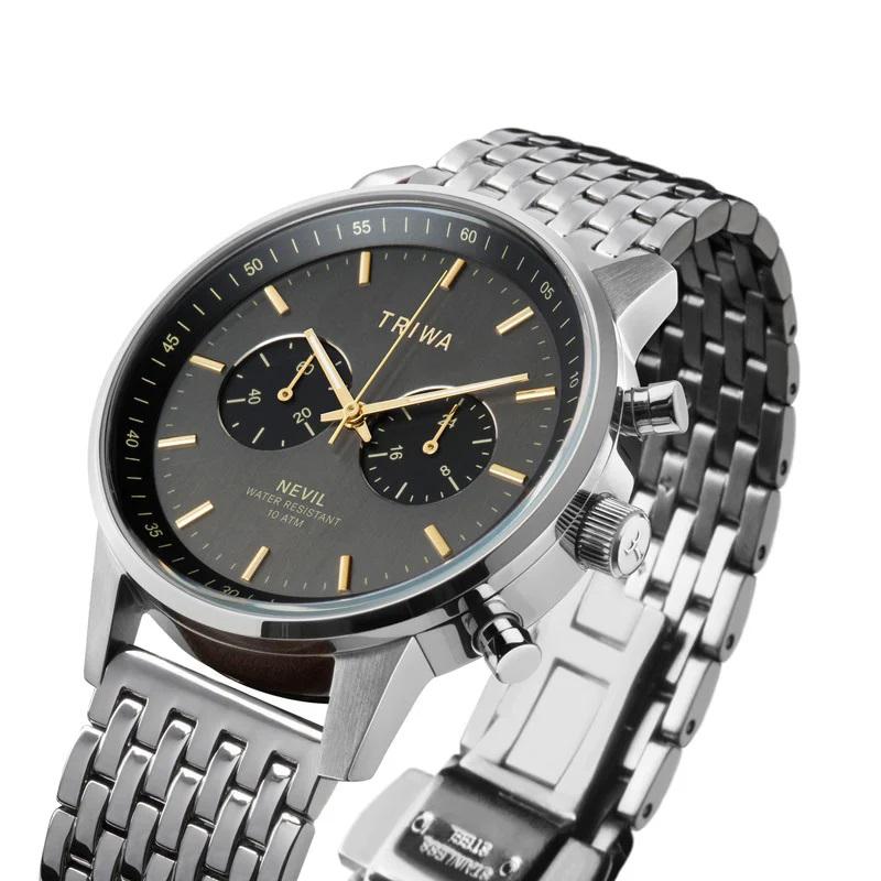 zegarek Triwa NEST114-BR021212 SMOKY NEVIL - STEEL BRACE męski z chronograf Nevil