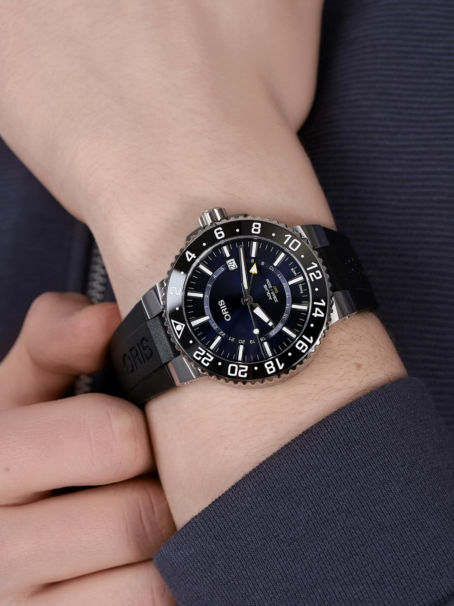 Oris 01 798 7754 4135-07 4 24 64EB AQUIS GMT DATE zegarek klasyczny Aquis
