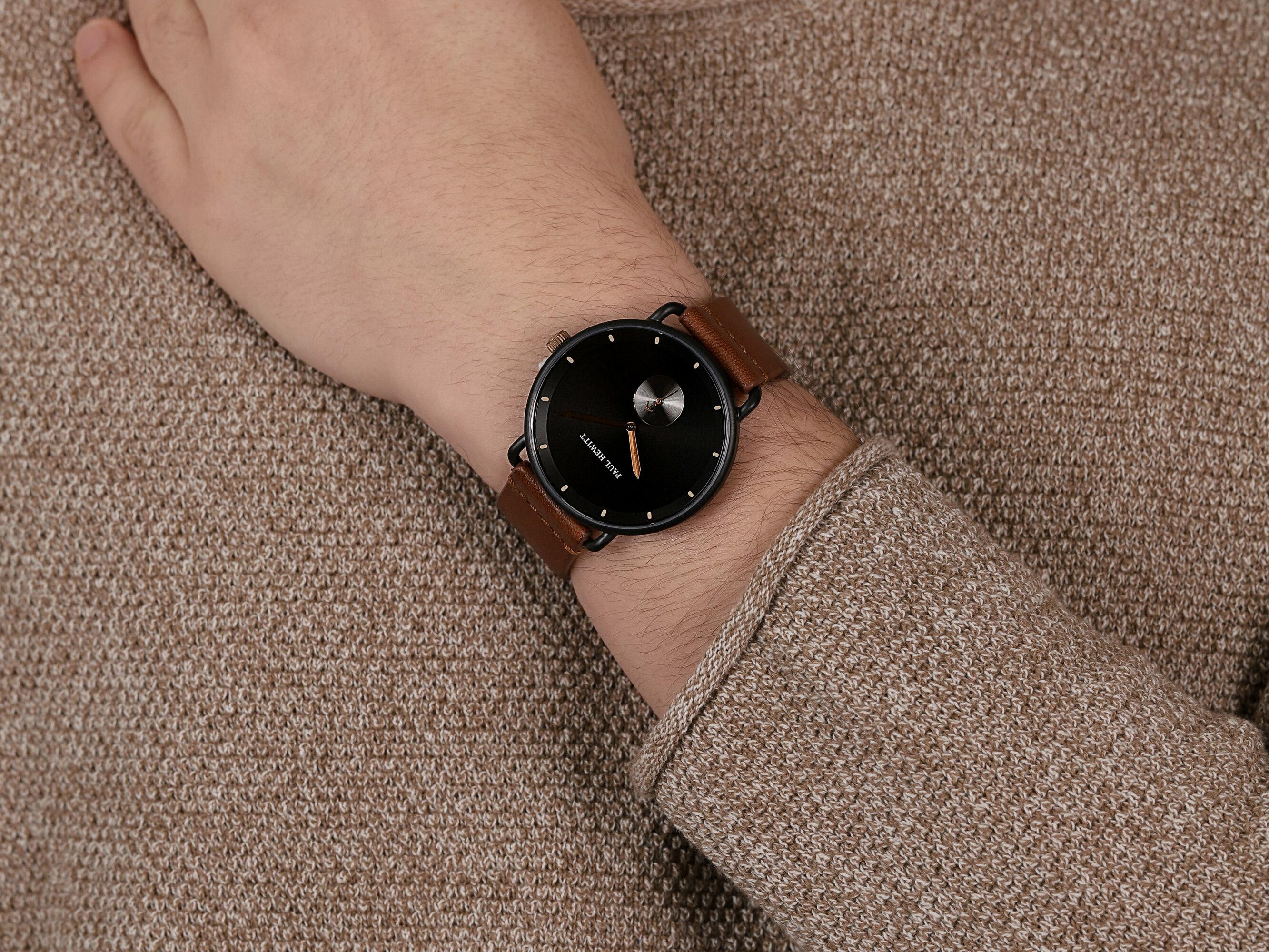 Paul Hewitt PH-BW-BBR-BS-57M zegarek czarny fashion/modowy Breakwater Line pasek
