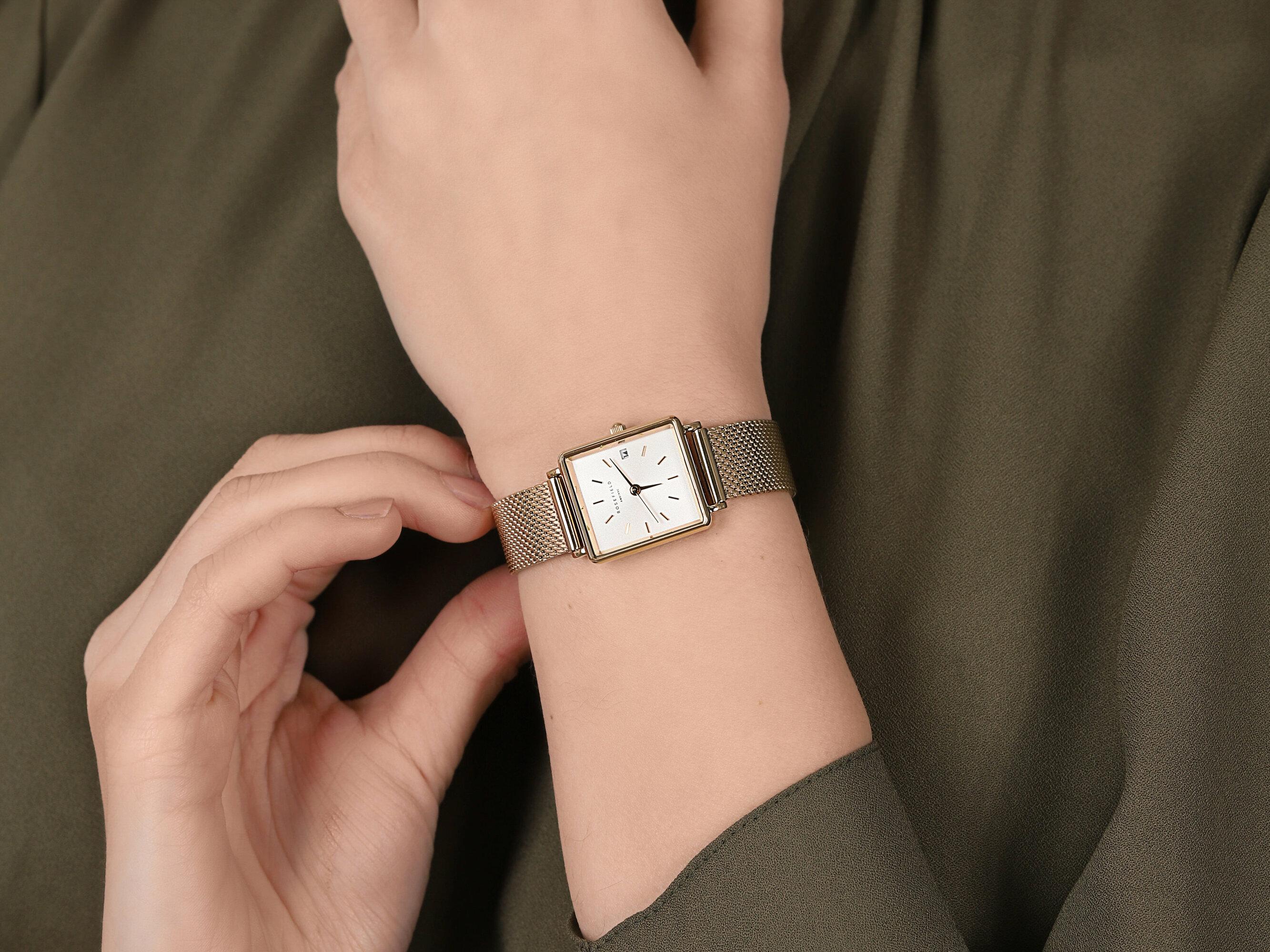 Rosefield QMWMG-Q039 zegarek żółty klasyczny Boxy bransoleta