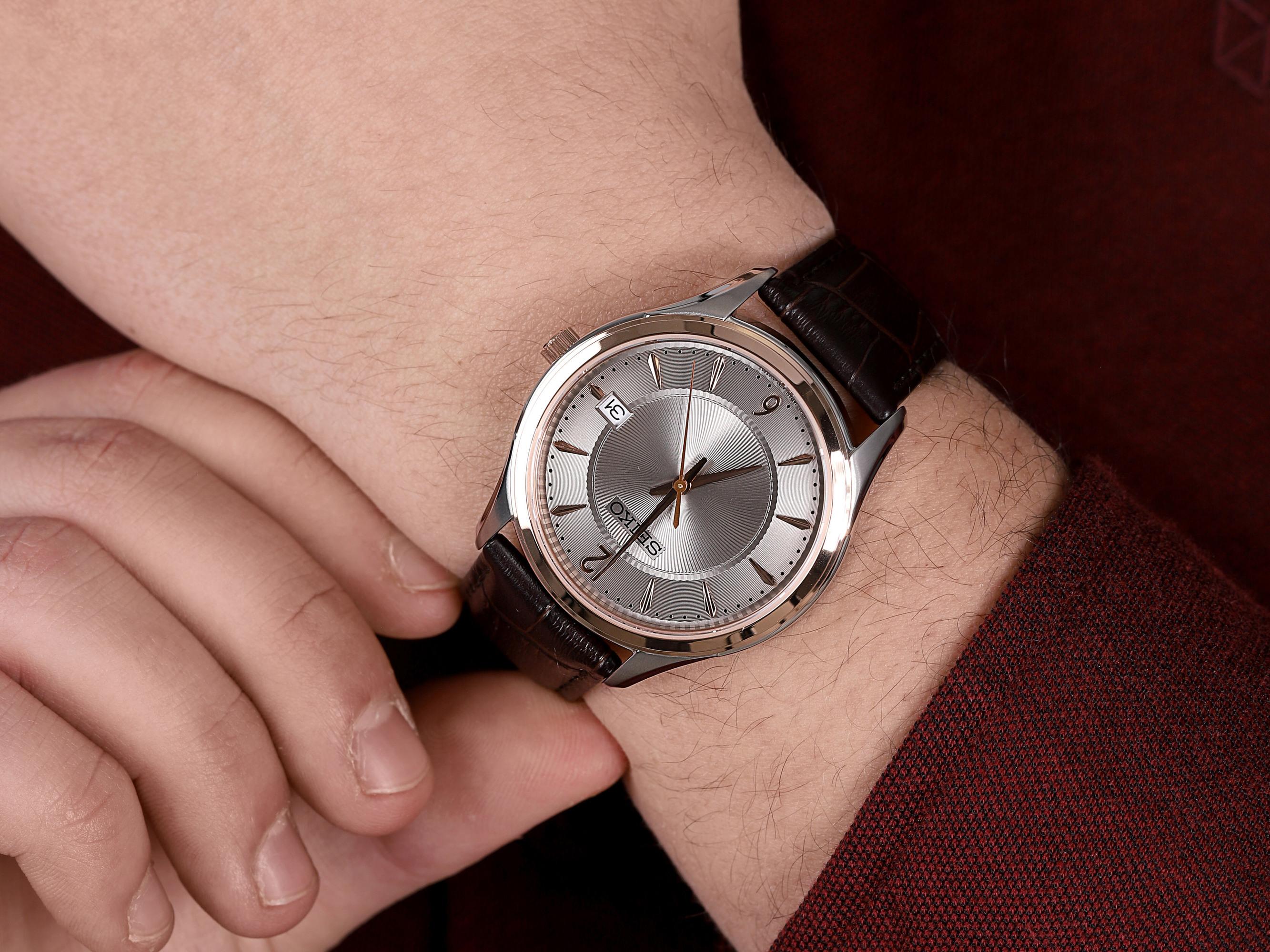 Seiko SUR422P1 męski zegarek Classic pasek