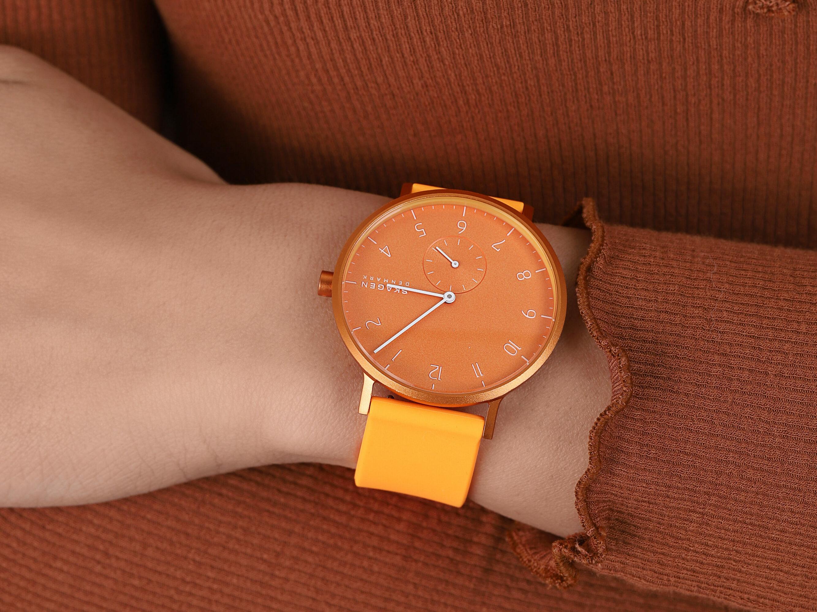 Skagen SKW6558 Aaren Kulor Neon Orange Silicone zegarek klasyczny Aaren