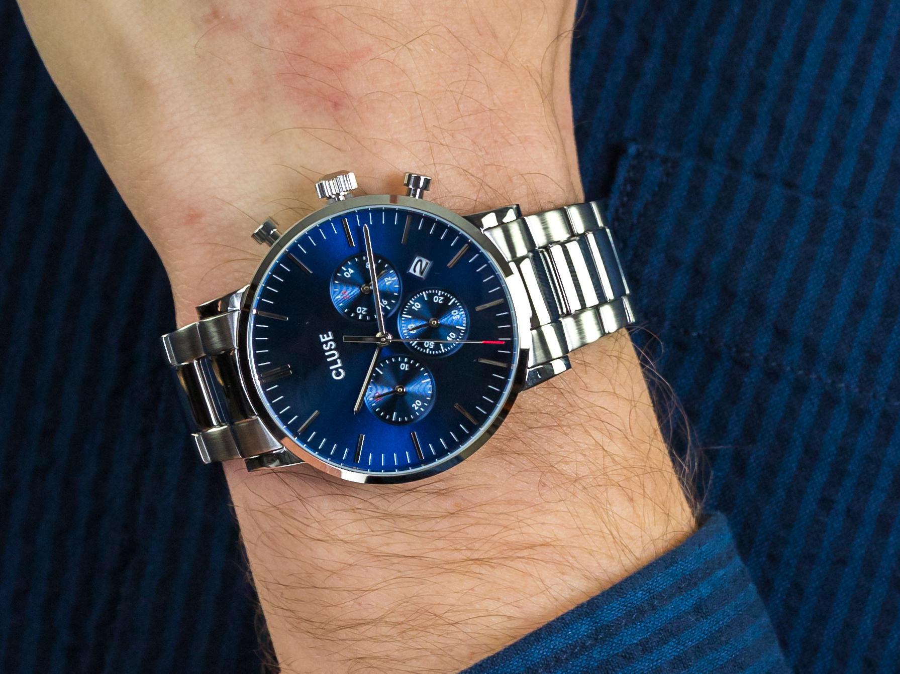 Cluse CW0101502011 Aravis Chrono Steel Silver Dark Blue zegarek sportowy Aravis