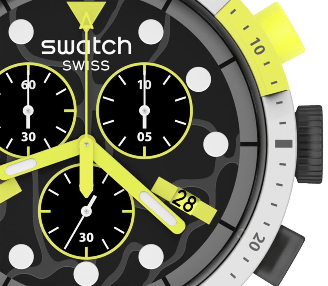 Swatch SB02M400 zegarek czarny sportowy Big Bold pasek