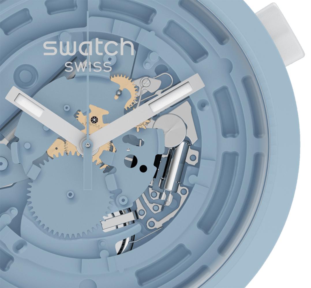 Swatch SB03N100 zegarek szary fashion/modowy Big Bold pasek