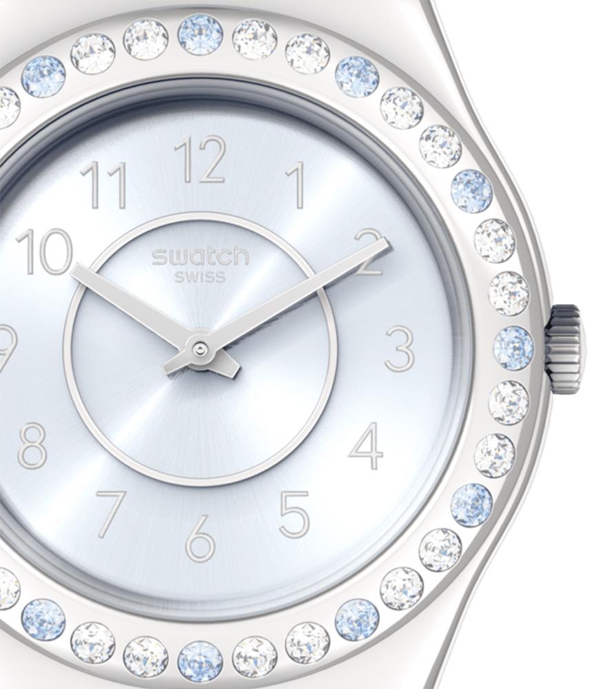 Swatch YLS226 zegarek srebrny klasyczny Irony pasek